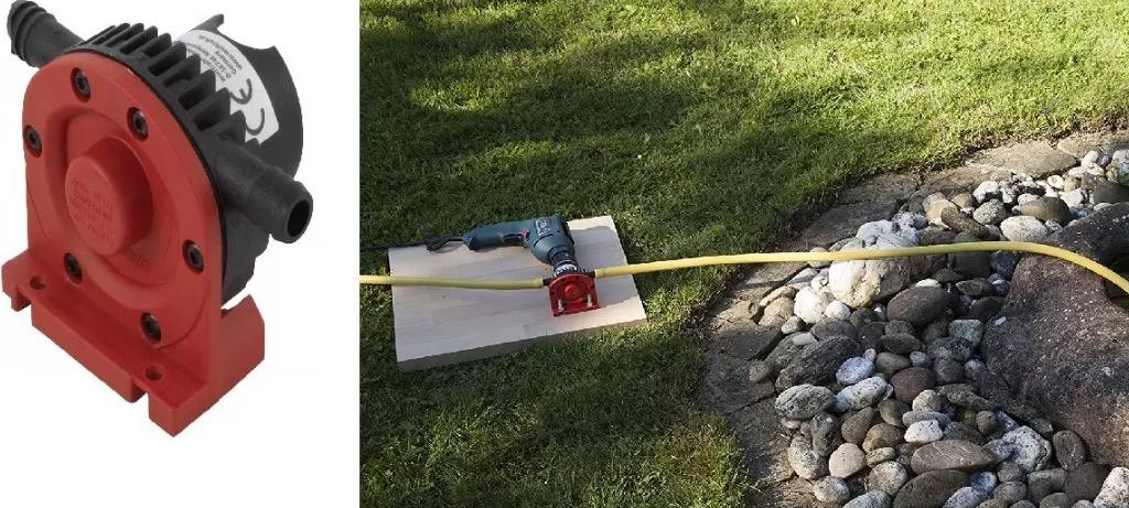 uso de una bomba de agua en una fuente exterior
